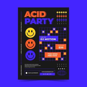 Modello di poster emoji acido piatto