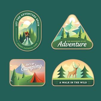 Collezione di badge avventura piatta