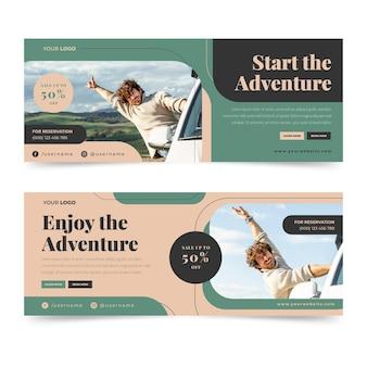 Banner di avventura piatto con modello di foto