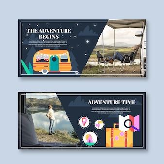 Banner di avventura piatto con foto