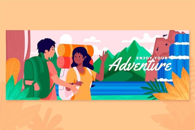 Copertina facebook di avventura piatta