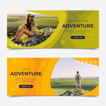 Banner orizzontali di avventura piatta con foto