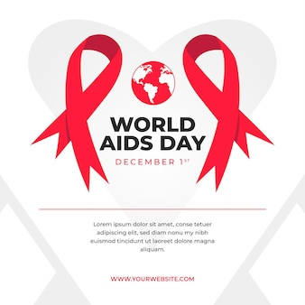 Fondo di evento di giorno di aids piatto con testo