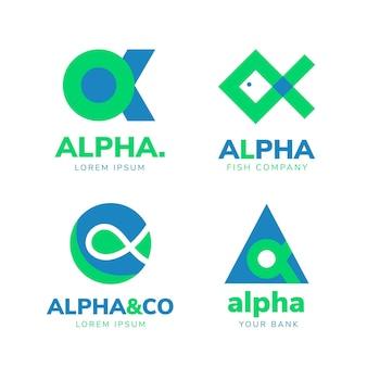 Collezione di modelli di logo alfa piatto