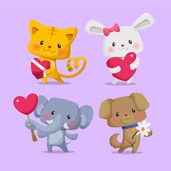 Collezione di personaggi animali piatti