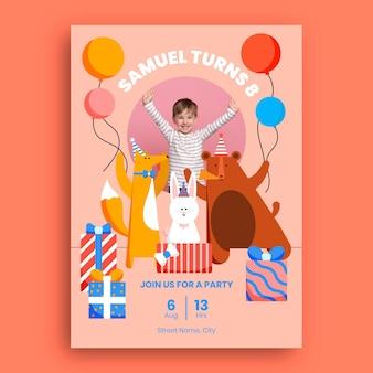 Modello di invito di compleanno di animali piatti con foto