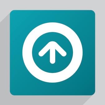 Icona freccia piatta in alto, bianca su sfondo verde