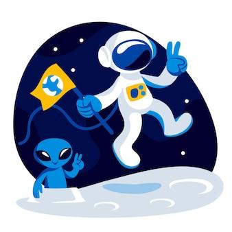 Illustrazione di astronauta piatto