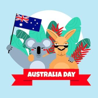 Illustrazione piana degli animali di giorno dell'australia