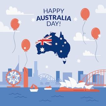 Illustrazione di giorno piatto australia con palloncini
