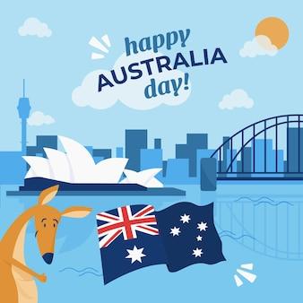 Illustrazione piana di giorno dell'australia con il canguro