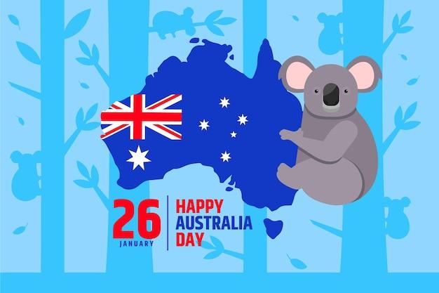Giorno piatto australia con mappa australiana Vettore Premium