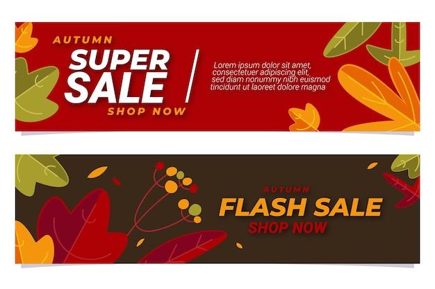 Set di banner di vendita autunnale piatto