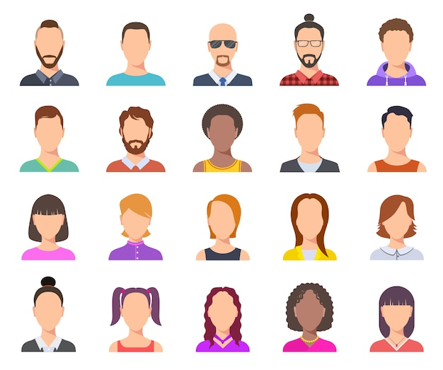 Avatar piatti. teste maschili e femminili, ritratti di persone d'affari. insieme di facce del fumetto di utenti. avatar di persona profilo illustrazione, ritratto anonimo di donna e uomo