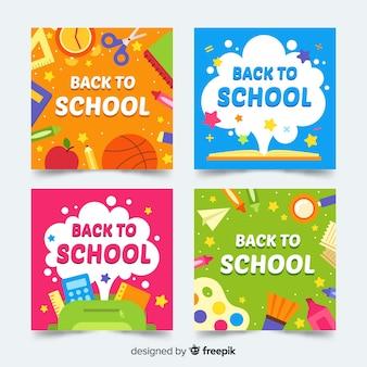 Piatto torna al modello di carta di scuola Vettore Premium