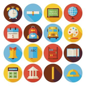 Set di icone del cerchio di ritorno a scuola piatta con ombra lunga. illustrazioni vettoriali in stile piatto. di nuovo a scuola. set di scienza e istruzione. collezione di icone circolari