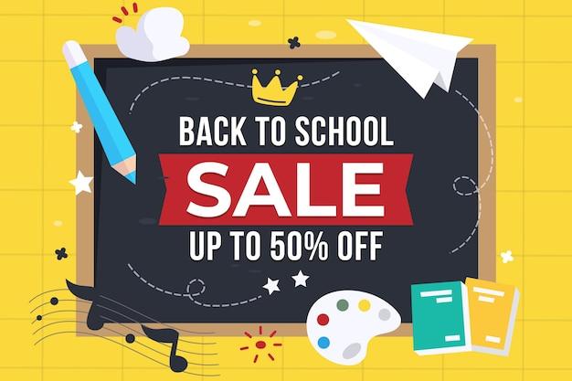 Illustrazione di vendita piatta di ritorno a scuola