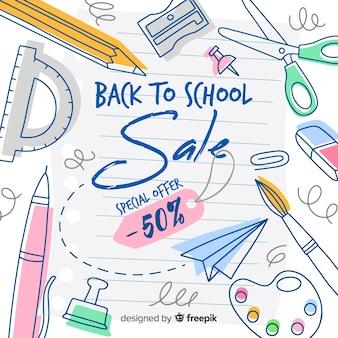 Ritorno a sfondo di vendite scolastiche Vettore Premium