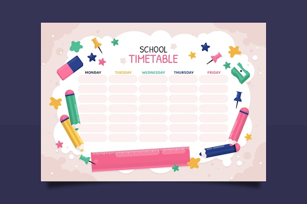 Modello di orario di ritorno a scuola piatto