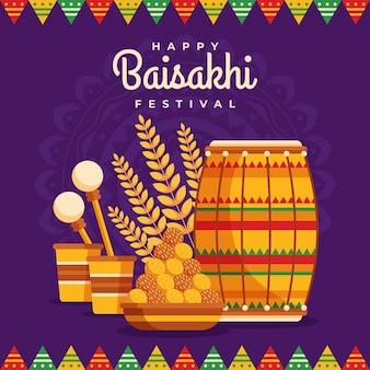 Illustrazione di baisakhi piatto