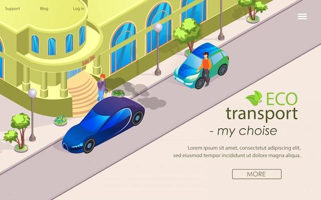 Flat banner eco transport my choise cartoon.