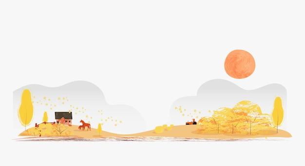 Banner piatto illustrazione vettoriale della stagione autunnale o cadesfondo di campagna rurale con hut