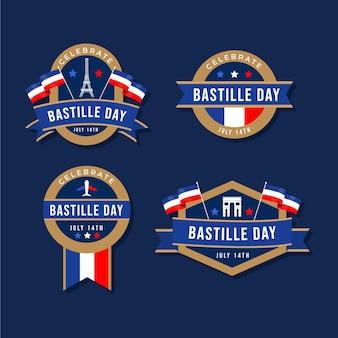 Collezione di badge per il giorno della bastiglia piatta