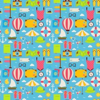 Modello senza cuciture piatto beach travel resort vacanza. illustrazione di vettore di design piatto viaggio. sfondo di piastrelle. collezione di vacanze estive e oggetti colorati della spiaggia marina.