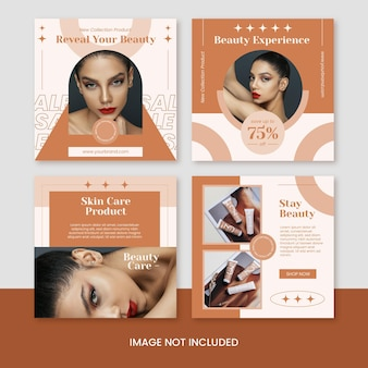 Modello di post instagram di social media per la cura della pelle di bellezza piatta