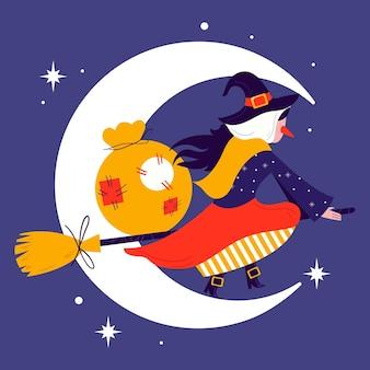 Illustrazione della strega della befana piatta