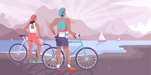 Paesaggio piatto del turismo in bicicletta con coppia di ciclisti che guardano il lago