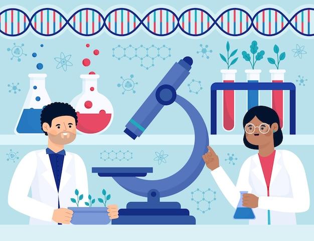 Concetto di biotecnologia piatto illustrato
