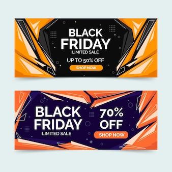 Set di banner di vendita orizzontale piatto venerdì nero