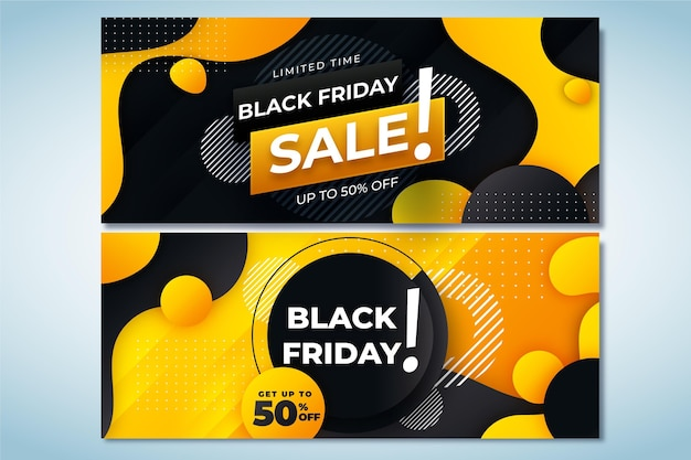 Set di banner orizzontali di vendita flat black friday