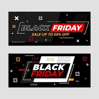 Set di banner di vendita orizzontale piatto venerdì nero vendita