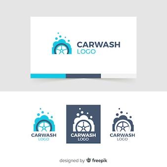 Logo di lavaggio auto blu piatto Vettore Premium
