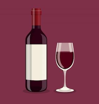 Bottiglia piatta e un bicchiere di vino