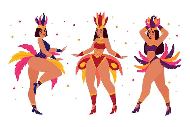 Collezione di ballerini di carnevale brasiliano piatto