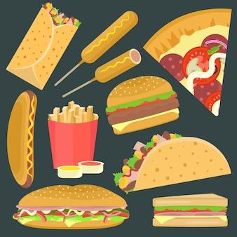 Set di icone di fastfood vettoriali piatte luminose tra cui hamburger, pizza, sandwich, taco