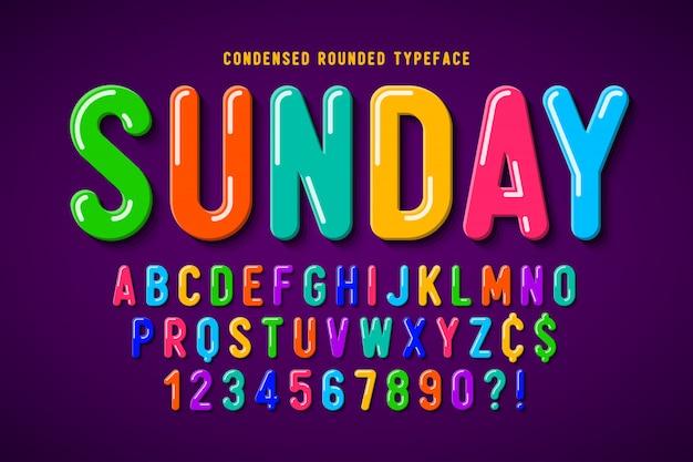 Design di carattere comico bolla piatta, alfabeto colorato