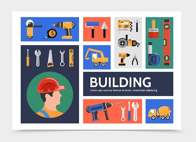 Modello di infografica costruzione edificio piatto