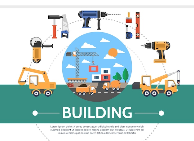 Concetto di industria edilizia piana