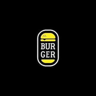 Vettore di progettazione del logo del timbro dell'etichetta del distintivo dell'emblema dell'hamburger piatto