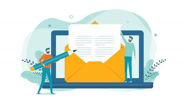 Il concetto di marketing e-mail aziendale piatto e gli uomini d'affari creano il concetto di contenuto digitale