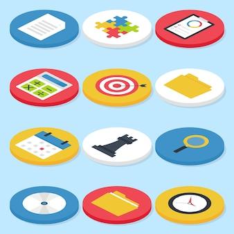 Set di icone del cerchio isometrico di affari piatte. concetti di affari di vettore e set di icone di vita in ufficio