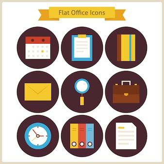 Set di icone piane di affari e ufficio. illustrazione di vettore. raccolta di icone cerchio colorato di strumenti di office. concetto di affari