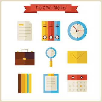 Set di oggetti ufficio affari piatti. illustrazione di vettore. raccolta degli oggetti degli strumenti dell'ufficio isolati sopra bianco. posto di lavoro. concetto di affari