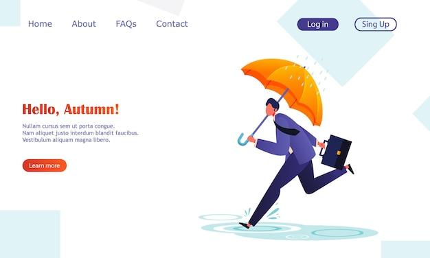 Uomo d'affari piatto in fretta in ufficio sotto l'ombrello autunno piovoso