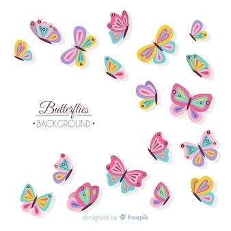 Farfalle piatte battenti sfondo