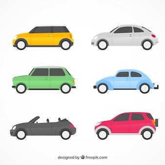 Collezione di auto piatte con vista laterale